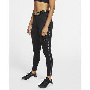 Nike pro warm gold metallic full length leggings size small